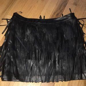 Faux black leather fringe mini skirt